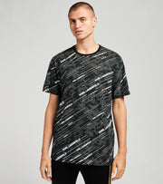 Karl Lagerfeld  Allover Logo Print Short Sleeve Tee  Black - LM0K3635-BLK | Jimmy Jazz