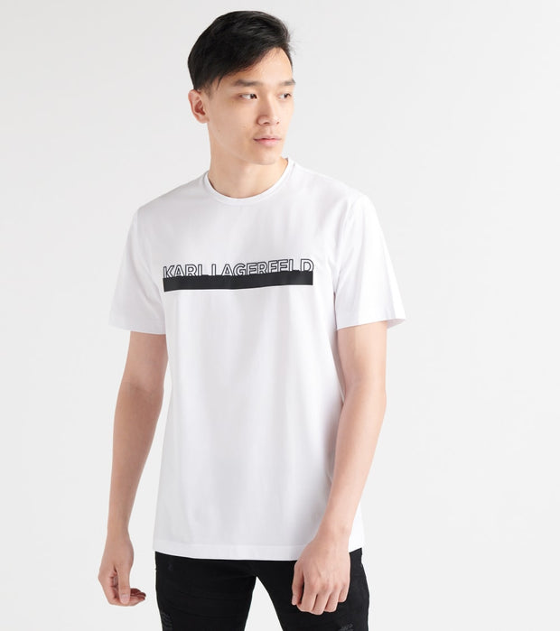 Karl Lagerfeld  Embroidered Logo Print Tee  White - LM9K3713-WHT | Jimmy Jazz