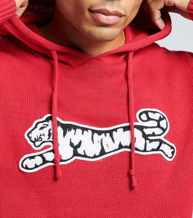 Le Tigre  Logo Hooded Sweater  Red - LT19K208-RED | Jimmy Jazz