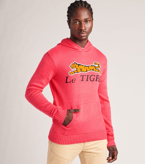 Le Tigre  Hooded Chest Logo Sweater  Pink - LT20K201-PNK | Jimmy Jazz