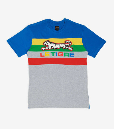 Le Tigre  Colorblock Stripe Logo Tee  Multi - LT659-GRY | Jimmy Jazz