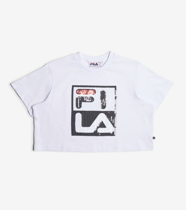 Fila  Ava Crop Sequin Logo Tee  White - LW016193-100 | Jimmy Jazz