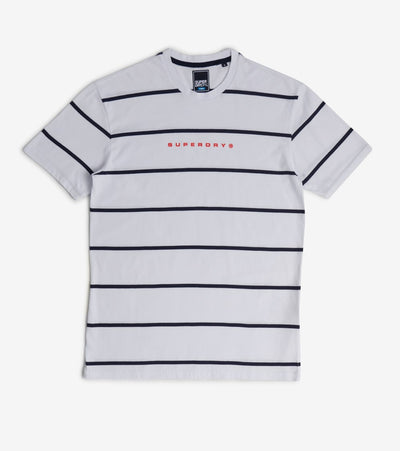 Superdry  Box Fit Stripe Print Tee  White - M1010192A-01C | Jimmy Jazz