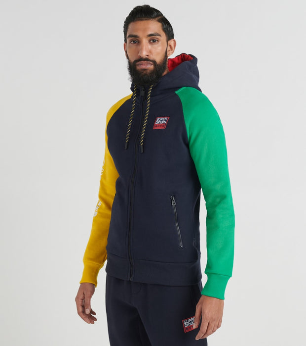 Superdry  Crafted Color Block Zip Hoodie  Navy - M2000105A-NAV | Jimmy Jazz