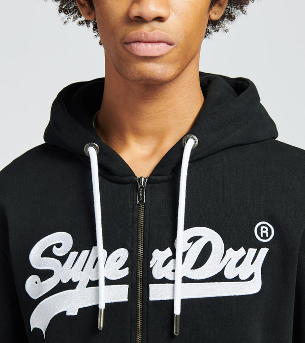 Superdry  Vintage Logo Embroidery Full Zip Hoodie  Black - M2010489B-BLK | Jimmy Jazz