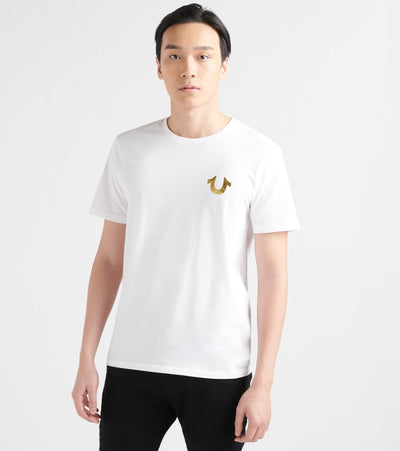 True Religion  Gold Outline Buddha Logo Crew Tee  White - M4O8U24EUF1700-WHT | Jimmy Jazz