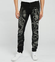 Waimea  Death n Angels Tonal Jeans L32  Black - M5024D-BKW | Jimmy Jazz