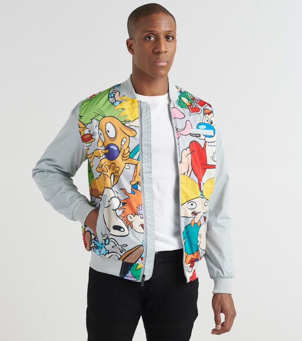 Members Only  Mash Print Bomber Jacket  Grey - MN30086-SLV | Jimmy Jazz