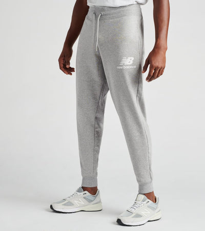 New Balance  Essentials Stacked Logo Sweatpants  Grey - MP03558-AG | Jimmy Jazz