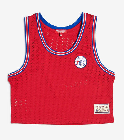 Mitchell And Ness  Philadelphia Sixers Mesh Crop Tank  Red - MSTKEL18124-P76RED1 | Jimmy Jazz