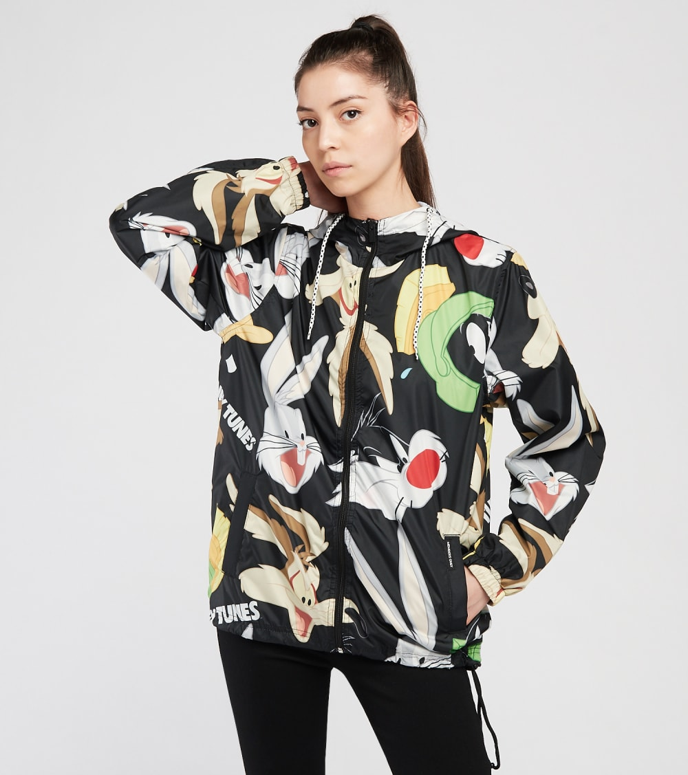 Members Only  All Over Print Looney Tunes Wind Breaker  Black - MWL160117-BLK | Aractidf