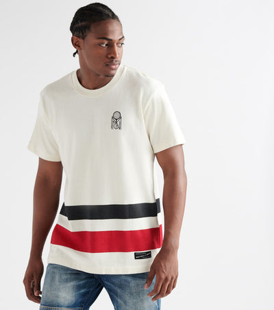 Mitchell And Ness  Striped Tennis Tee  White - NG18705MNN-OFW | Jimmy Jazz