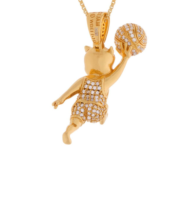 King Ice  Space Jam Porky the Pig Necklace  Gold - NKX12286-GLD | Jimmy Jazz