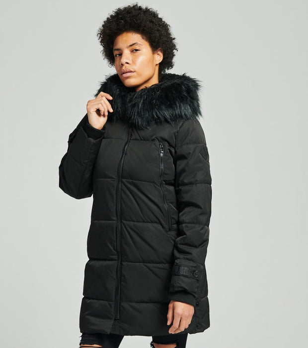 Essentials  Long Puffer Coat  Black - OLA1244H-BLK | Jimmy Jazz