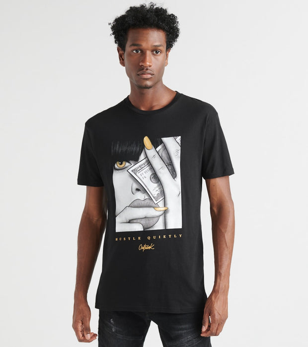 Outrank  Hustle Quietly Tee  Black - OR833-BLK | Jimmy Jazz