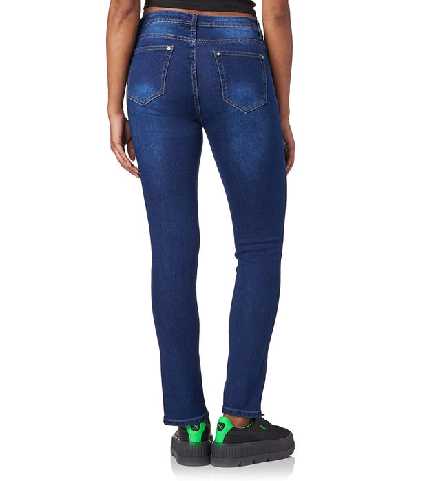 Essentials  Front Split Hem Jeans  Blue - P11027-MDK | Jimmy Jazz