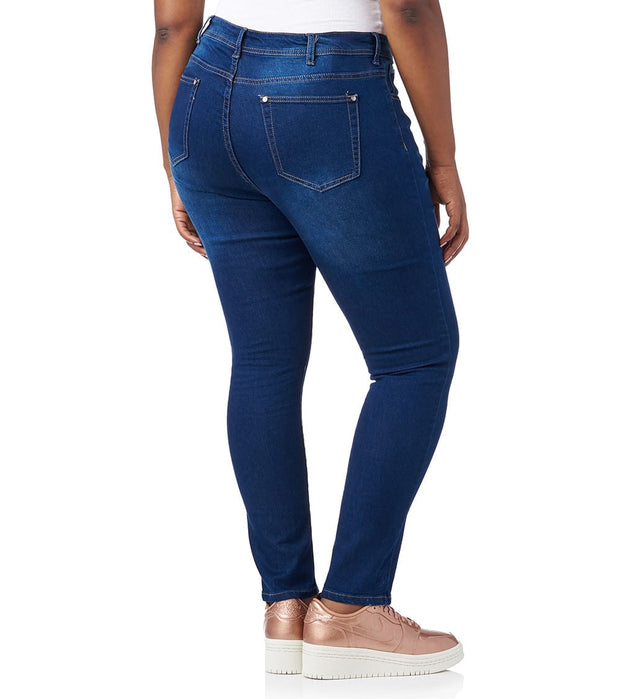 Essentials  PLUS FRAME HEM KNEE RIP JEAN  Blue - P11027X-MDK | Jimmy Jazz