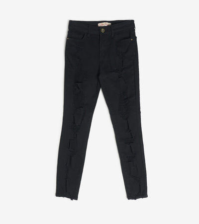 Essentials  Color Twill Destructed Ankle Pants  Black - P1908401-BLK | Jimmy Jazz