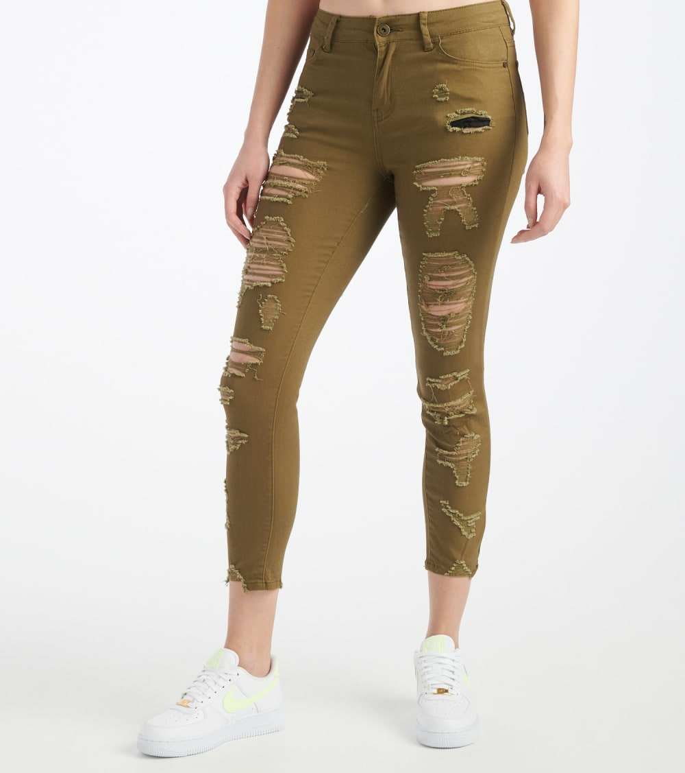 Essentials  Color Twill Destructed Ankle Pants  Green - P1908406-OLV | Jimmy Jazz