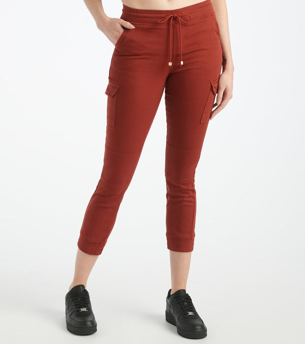 Essentials  Twill Pull-On Cargo Joggers  Burgundy - P1956284-RST | Jimmy Jazz