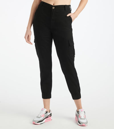 Essentials  Twill Side Cargo Elastic Rib Bottom  Black - P2004801-BLK | Jimmy Jazz