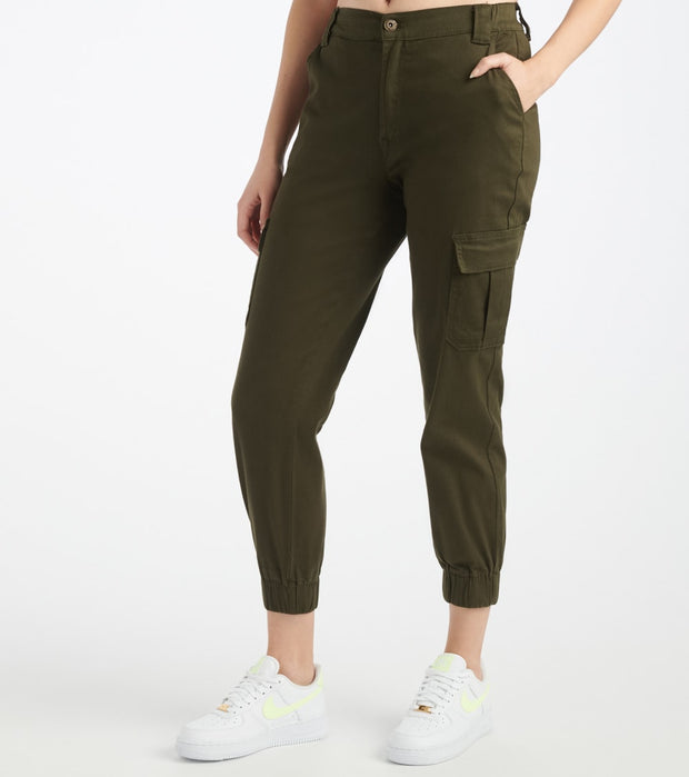 Essentials  Twill Side Cargo Elastic Rib Pants  Green - P2004806-OLV | Jimmy Jazz