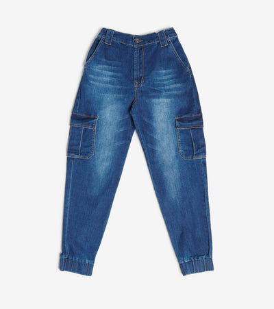 Essentials  Denim Loose Cargo Joggers  Blue - P20156-DKW | Jimmy Jazz