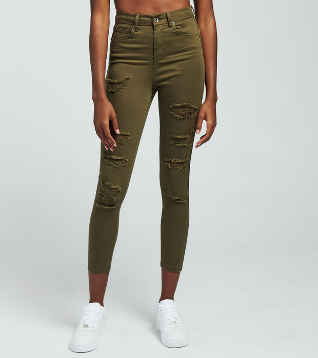 Essentials  Destructed Olive Skinny Jeans   Green - P2060406-OLV | Aractidf