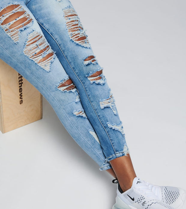 Essentials  Knee Destructed Skinny Jeans   Blue - P20734-DKW | Jimmy Jazz