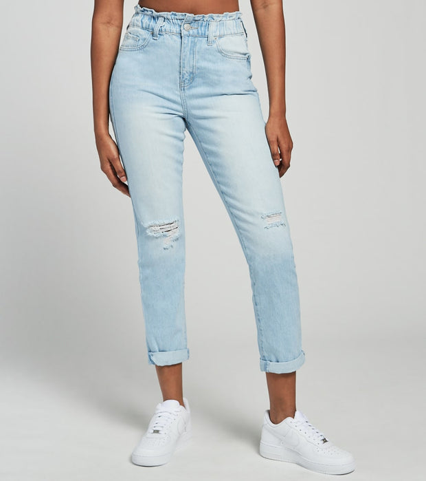 Essentials  Easy Fit Paperbag Waist Jeans  Blue - P40068-L1846 | Jimmy Jazz