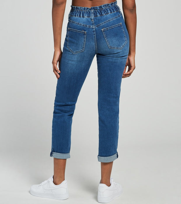 Essentials  Easy Fit Paperbag Waist Jeans  Blue - P40068-M1846 | Jimmy Jazz