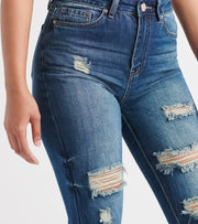 Essentials  YMI Hi RIse D Hem Skinny Jean  Blue - P967368-R1026 | Jimmy Jazz