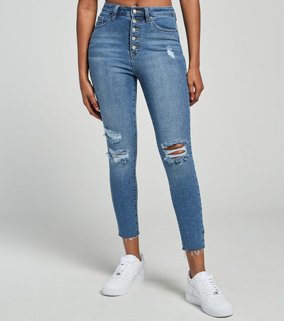 Essentials  5 Button High Rise Skinny Jeans  Blue - P982370-M1841 | Jimmy Jazz