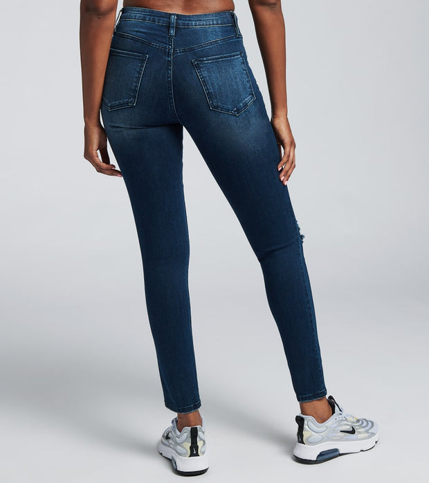 Essentials  High Rise Skinny Lycra Denim Jeans  Blue - P984029-S1703 | Jimmy Jazz