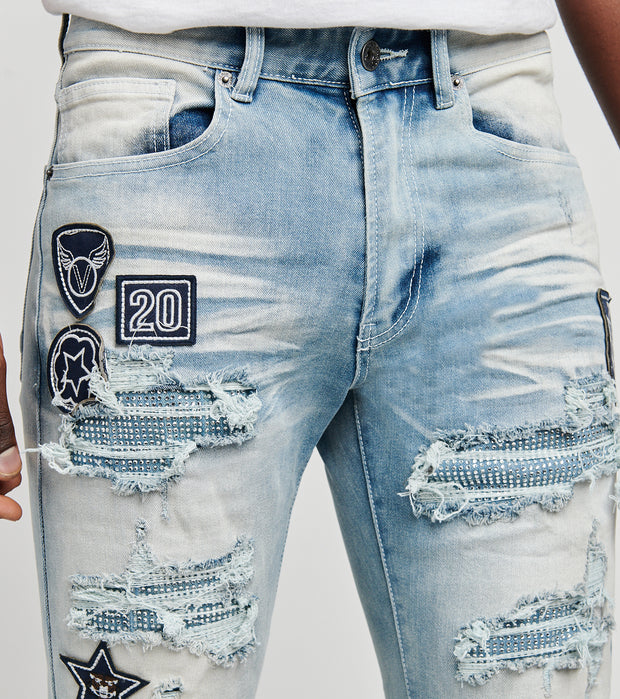 Decibel  Patched and Ripped Jeans L32  Blue - PJ21011-FBL | Jimmy Jazz
