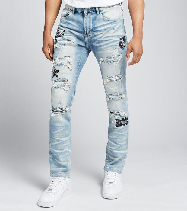 Decibel  Patched and Ripped Jeans L32  Blue - PJ2101B-UBL | Jimmy Jazz
