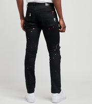 Decibel  Print and Paint Zip Knee Jeans L32  Black - PJ21023-JBK | Jimmy Jazz