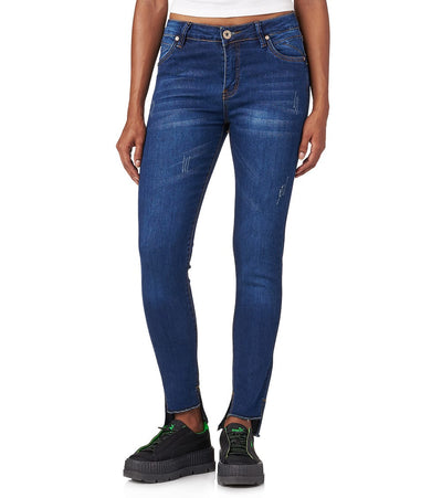 Essentials  Split Front Hem Jean  Blue - PJL684-DKW | Jimmy Jazz