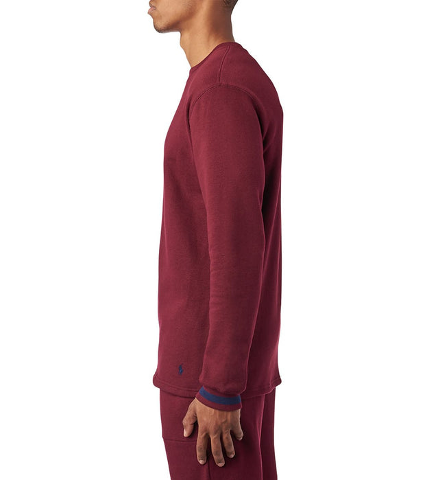 Polo  Brushed Jersey LS Fleece Crew  Red - PK01HR-VMO | Jimmy Jazz