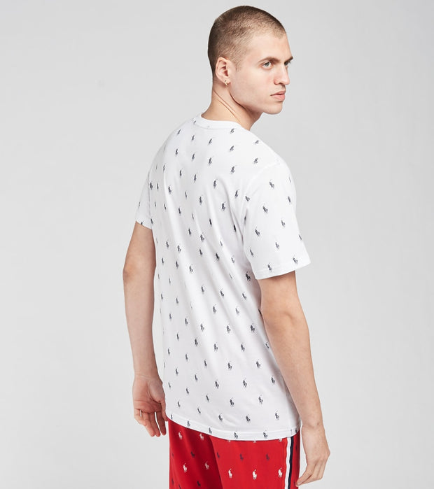 Polo  Short Sleeve All Over Print  Logo Tee  White - PL88SF-AWYD | Jimmy Jazz