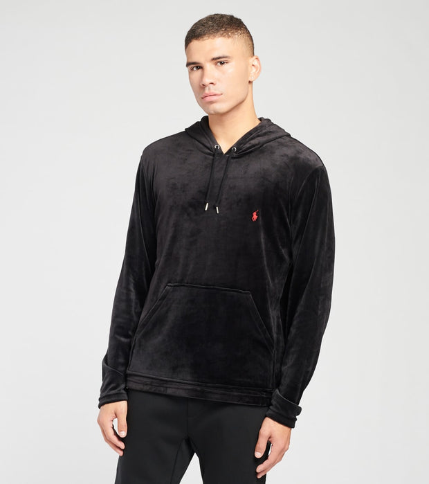 Polo  Velour Long Sleeve Pullover Hoodie  Black - PP31HR-LUR | Jimmy Jazz
