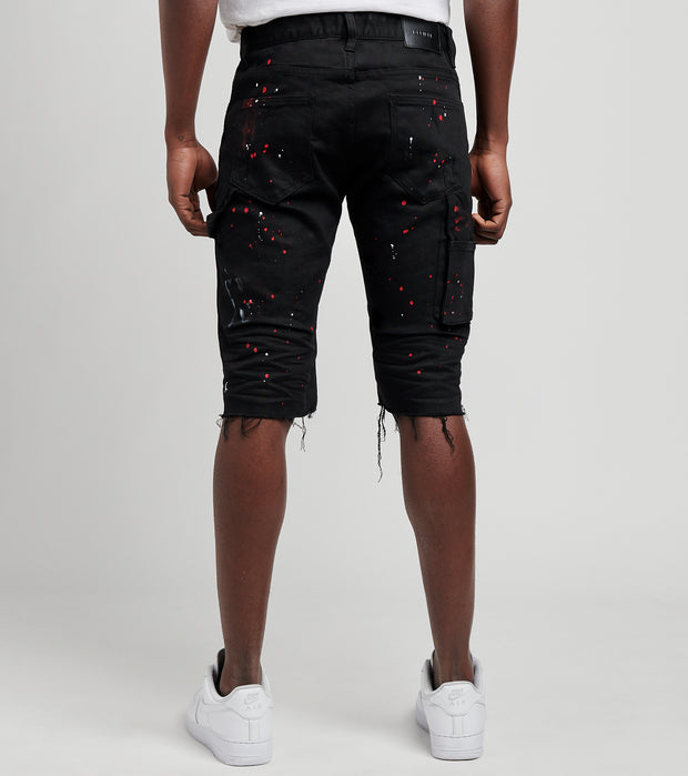 Decibel  Splatter Denim Worker Shorts  Black - PS21025-JBK | Jimmy Jazz