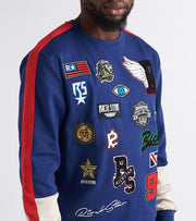 Rich Star  Patch Varsity Crew Sweatshirt  Navy - R5230132-NVY | Jimmy Jazz