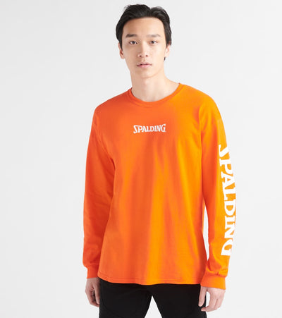 Spalding  1876 Branded Long Sleeve Crew Tee  Orange - RH8S151-ORG | Jimmy Jazz