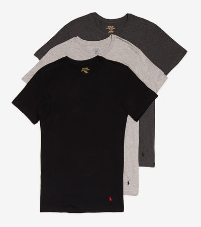 Polo  Slim Crew Neck Tees 3 Pack  Black - RSCNP3-90D | Jimmy Jazz