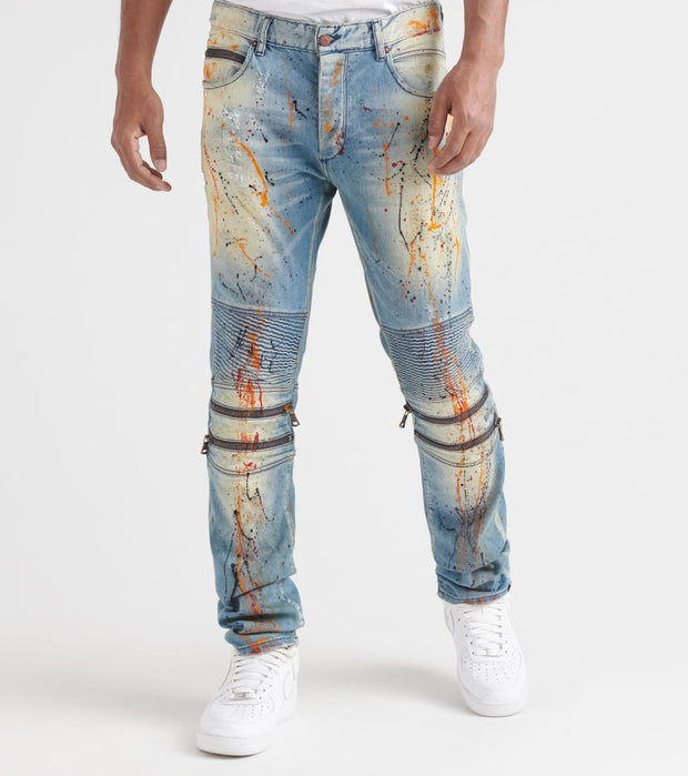 Rock Star  Paint Splatter Jeans  Blue - RSM213ORT-DON | Jimmy Jazz
