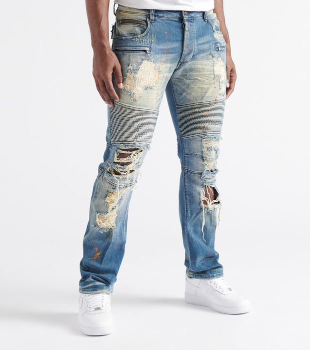 Rock Star  Craig Moto Jeans  Blue - RSM214ORT-MBL | Jimmy Jazz