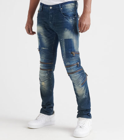 Rock Star  Multi Zipper Jeans  Blue - RSM229ORT2-BLU | Jimmy Jazz