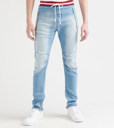 Rock Star  Ankle Zip Jeans With Waist Drawstring  Blue - RSM278ORT-LTR | Jimmy Jazz