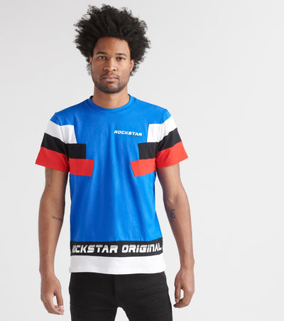 Rock Star  Color Block Tee   Blue - RSM827-BLG | Jimmy Jazz